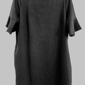 All for Color black knit shift dress L